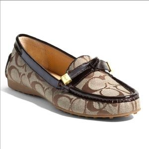 Coach Frida Brown and Tan Loafers Size 8.5